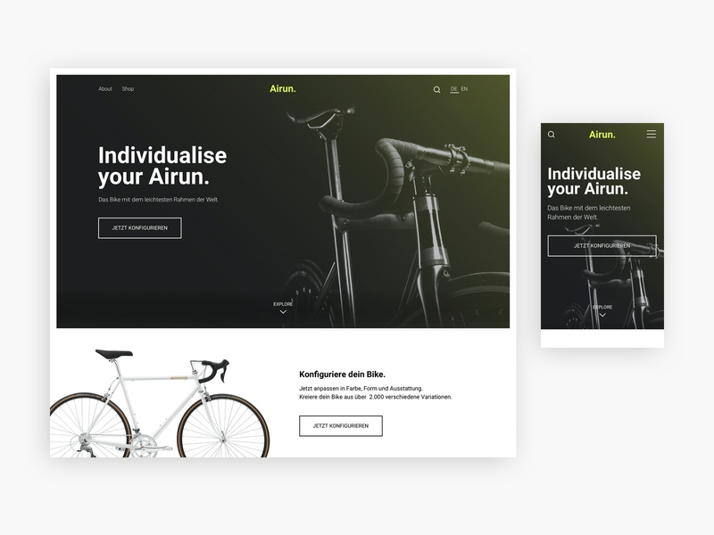Leonie Lawniczak – Airun. Brand Website header landingpage responsive mobile linz senior designer leonie lawniczak austria startup brand sports bike look and feel branding web website ui ux design