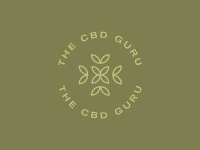 CBD Guru olive green badge circle logo green logo cannabis cbd