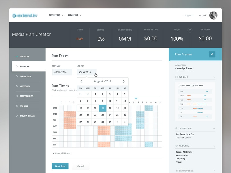 Media planner dashboard by keith evans dribbble for What is a planner dashboard