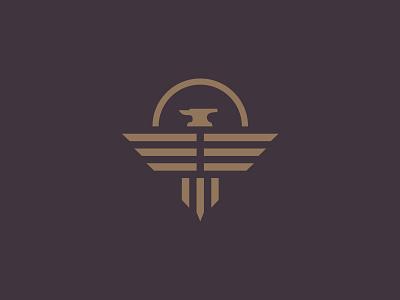 Phoenix Logo mark branding sunset sun eagle wings phoenix logo anvil agency