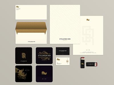 SteamRhino Brewing Co. - Identity design brewing co beer brewery china beijing logo envelope letterhead gold steampunk rhino identity