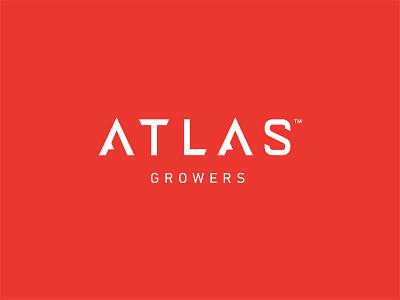 Atlas Growers Logo custom type techy red cannabis canada