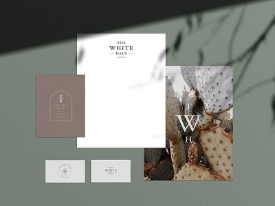 White Haus Identity identity design earthtones quiet cozy cactus stationary logo hotel branding hotel design cottages rabbit logo branding design arizona
