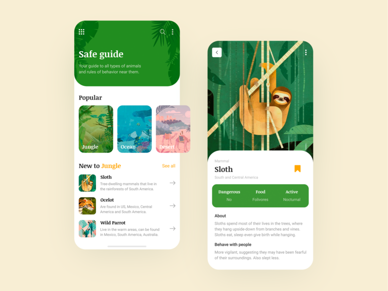 Animal guide - Mobile app concept animal yellow creativity daily illustration clean ui ux app design green jungle mobile app concept