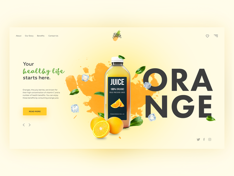 Orange Fruit Juice concept. V1 clean website landing ui web orange juice concept design daily creativity