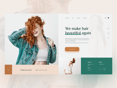 Hairdressing salon | beauty concept service spa hairstyle hair barbershop beauty salon design web daily ux ui concept website clean