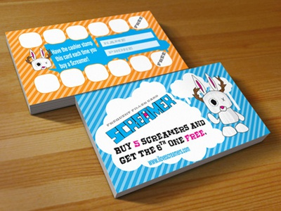 """Screamer"" Frequent Buyer cards business cards print"