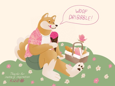 HELLO DRIBBBLE! hellodribbble flat summer dog character illustration debut first shot