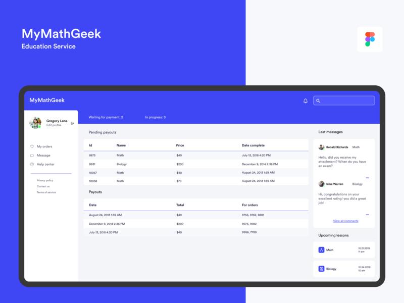 MyMathGeek − education service minimal learning profile data application webdesign education dashboard ui dashboard design dashboard app daily ui minimalistic