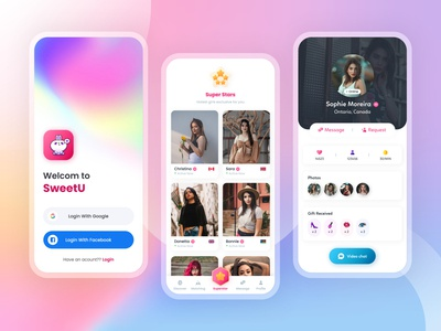 SweetU uiux uikit messanger app materialdesign messanger voice chat video chat videocall app ui appdesign appui uxdesign uidesign screen design mobile app design