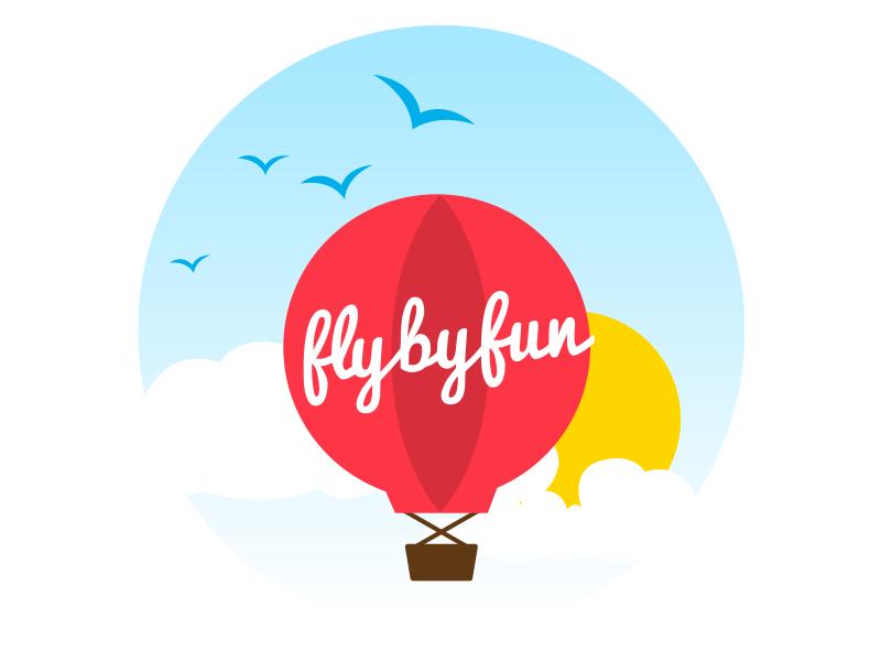 Fly By Fun fun party logo branding
