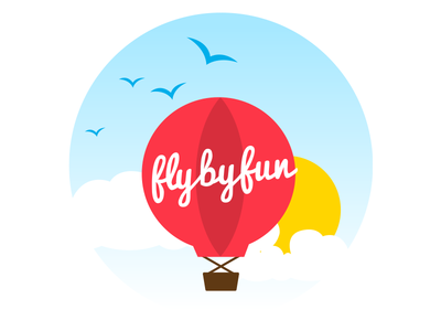 Fly By Fun fun party logo branding