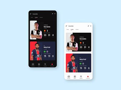 Scores App Favorite Player Cards
