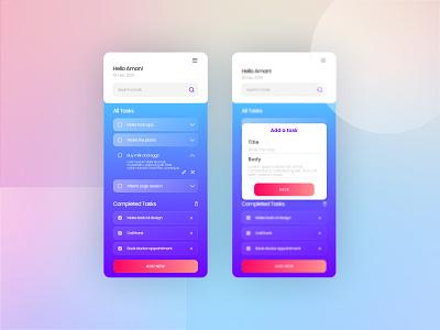Tasks App UI app tasks glassmorphism