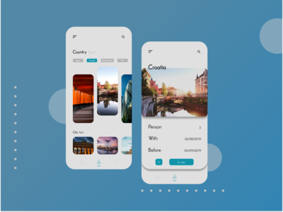 Tour of countries and cities. Mobile Desing