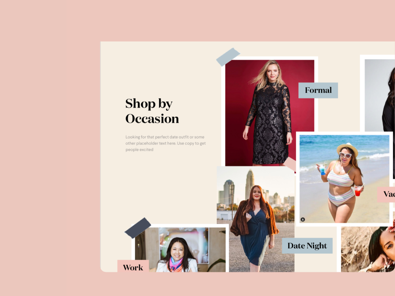 Layout for an Ecommerce fashion platform called coedition