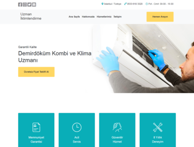 Uzman İklimlendirme business bootstrap landing page html front-end development mobile website responsive css