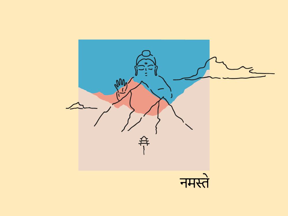 Namaste mindfulness asian mountain peace zen namaste nepal colors pen illustration