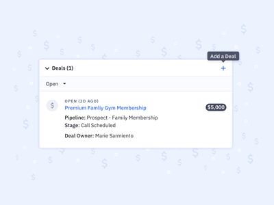 CRM Deal Card expandable accordion product designer product designs opportunities money tool tip ui products product product design add deal add card design crm software ux card opportunity deals crm