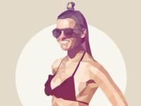 Sunny portrait in lowpoly