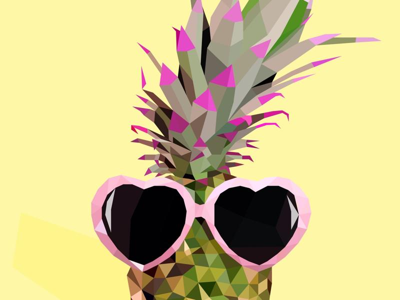 Pineapple love illustration design draw art pineapple lowpoly