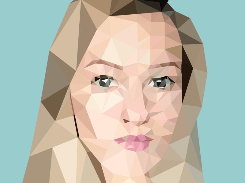 Girl in vector face portrait drawing polygon vector illustrator illustration design art lowpolyart lowpoly