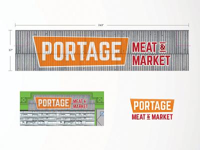 Portage Meat & Market Wall Decor wall super market orange sign signs graphic design signage metal steel branding vintage illustration logo supermarket fresh retail grocery food design