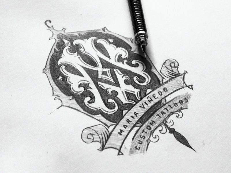 Maria Viñedo - Sketch donzorrito logotype vintage lettering typography