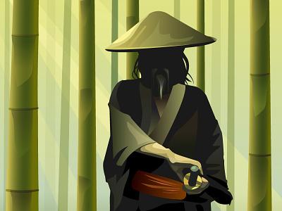 The Way vector sword samurai illustration bamboo