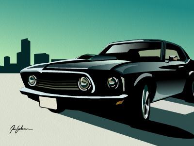 Mustang illustration concept artwork art retro auto