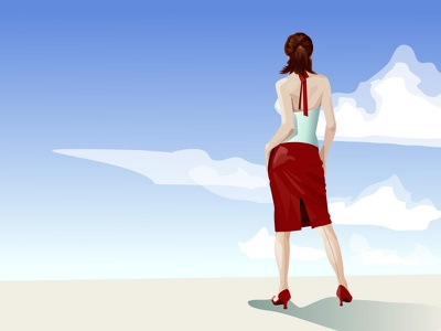 Breathe vector illustration airy clouds pinup