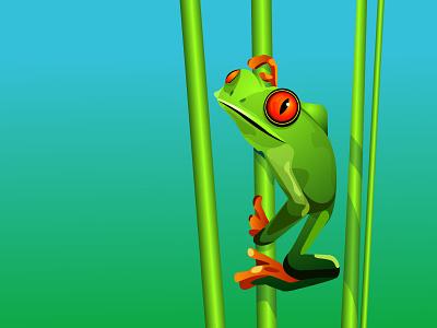 Treefrog green nature vector treefrog illustration