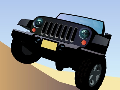 Jeep offroad 4-wheeling wrangler auto jeep vector illustration