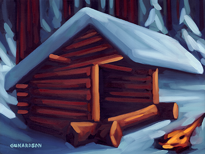 Lean-to adirondack painting oil camp fire outdoors lean lean-to