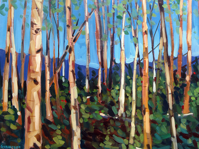 Birches traditional oil painting
