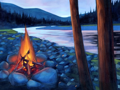 Fireriver painting oil illustration