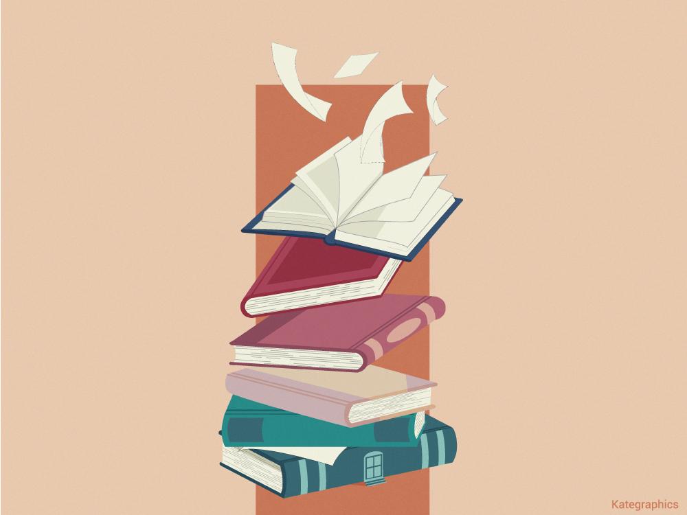 The imaginary world of books visual graphic books vector design minimalist illustrator illustration