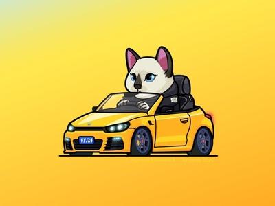 WanWan's Scirocco R vw illustration cat car