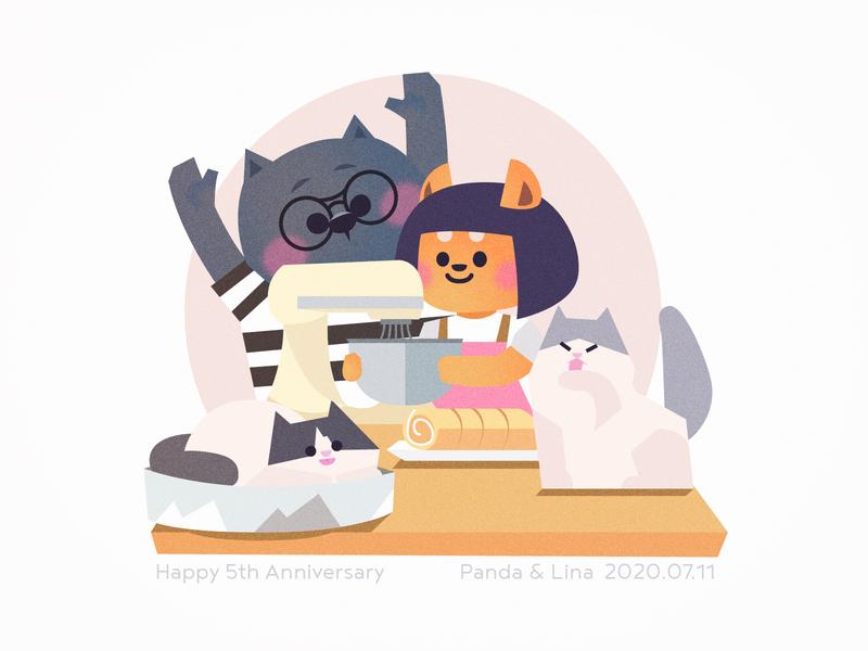 Happy 5th Anniversary illustration cat dog