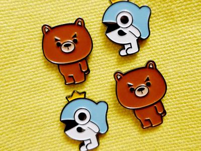 Mr Bear/Fish Brooches