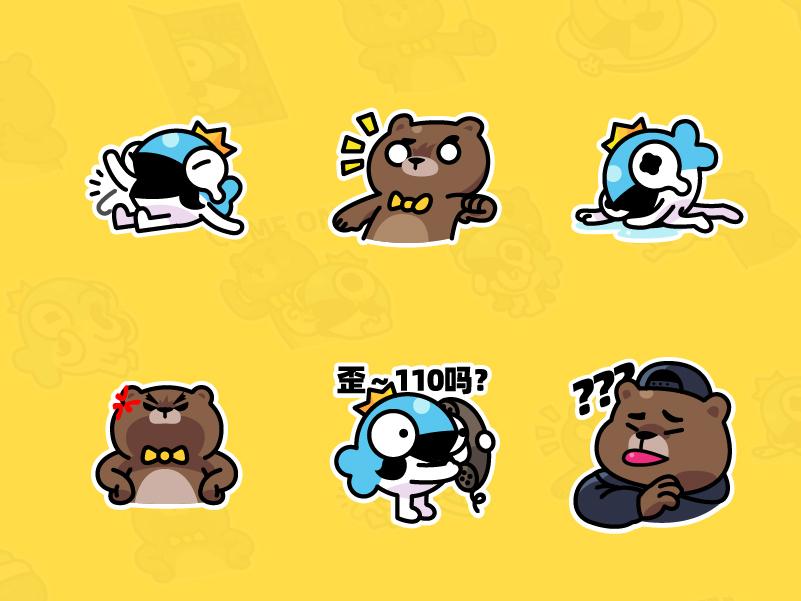 MrBear & MrFish wechat stickers Part.1 emoji stickers illustration fish bear