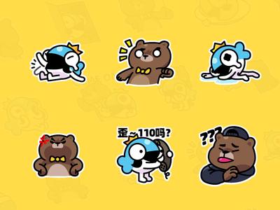 MrBear & MrFish wechat stickers Part.1
