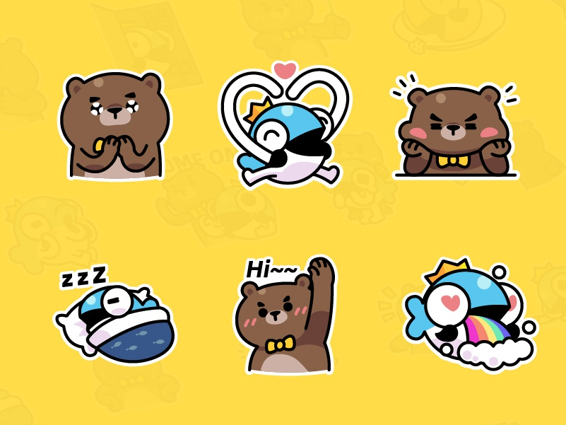 MrBear & MrFish wechat stickers Part.2 emoji stickers illustration fish bear