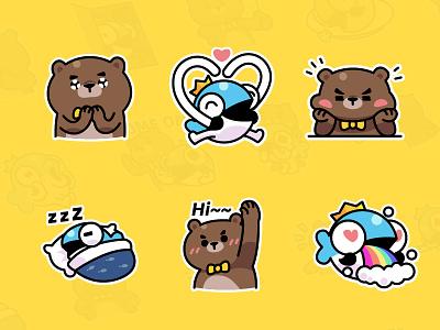 MrBear & MrFish wechat stickers Part.2 emoji stickers illustration fish bear