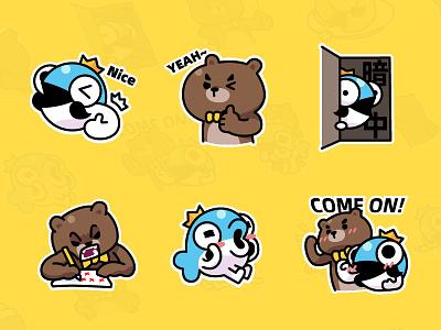 MrBear & MrFish wechat stickers Part.3 emoji stickers illustration fish bear