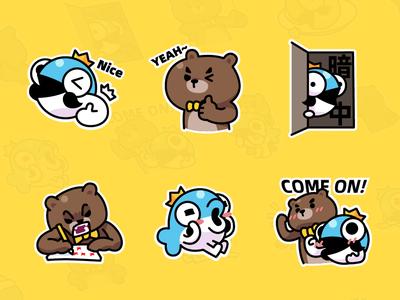 MrBear & MrFish wechat stickers Part.3