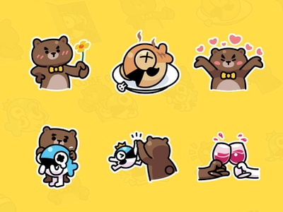 MrBear & MrFish wechat stickers Part.4 emoji stickers illustration fish bear