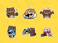 MrBear & MrFish wechat stickers Part.4