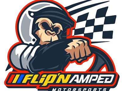 Flip'n Amped Motosports Sim Racing Team Logo gaming esports mascot logo branding design vector illustration sim racing esports logo design esports mascot esports logo