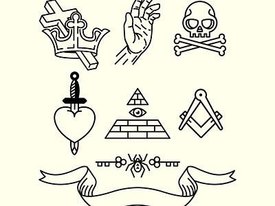 Secret Society Icons freemason swords crowns skulls secret medieval minimal icon set logo design illustrator illustration vector secret society